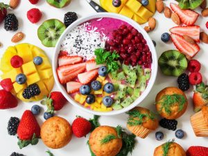 Colourful plate of healthy food